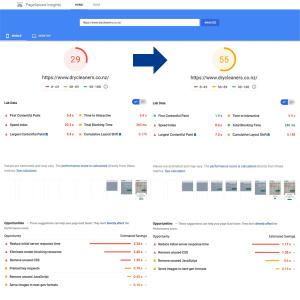 قبل و بعد google speed insight